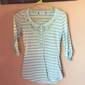Mint green and white striped top